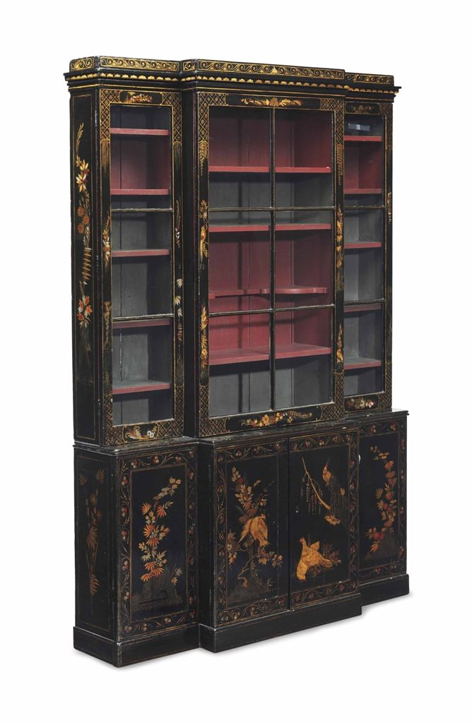 An English black, red and gilt japanned bookcase cabinet