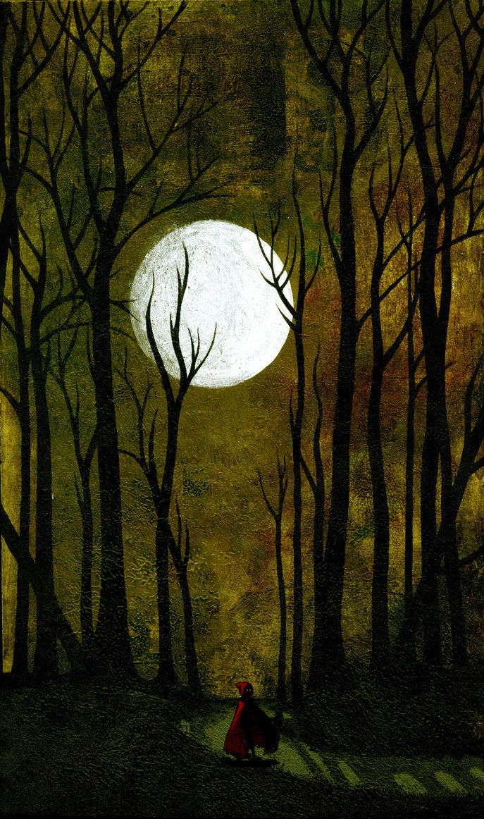 Moon: #Full #Moon through the woods  | Moon | Red riding hood