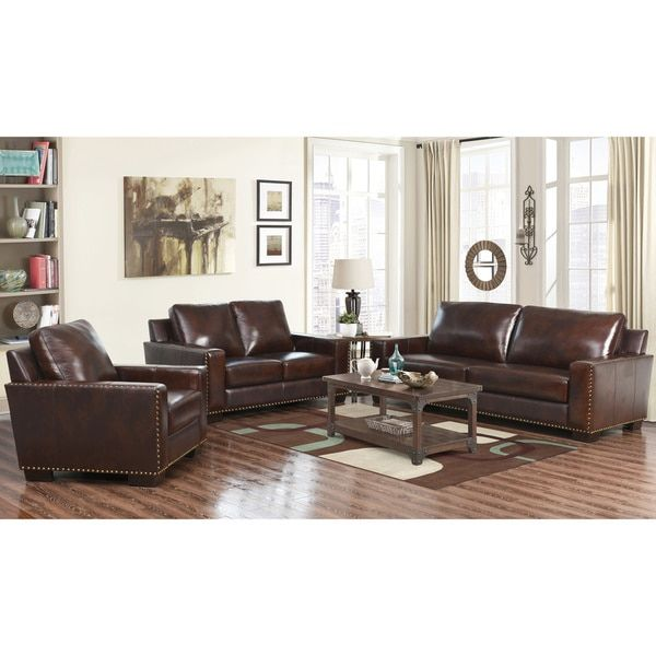 Best Abbyson Living Barrington 3 Piece Hand Rubbed Leather Sofa 400 x 300