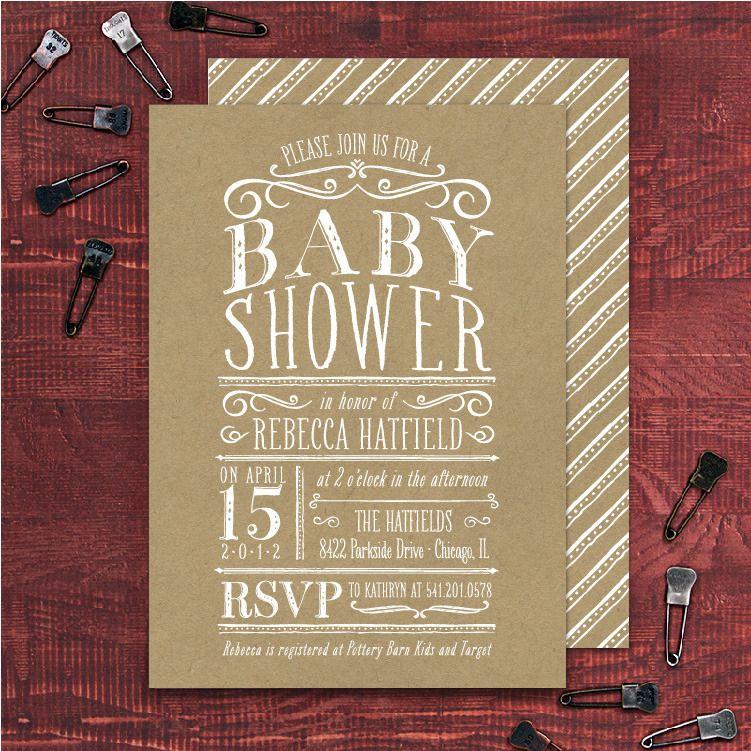 Image of Vintage Lettering Baby Shower Invitation (set of 20 ...