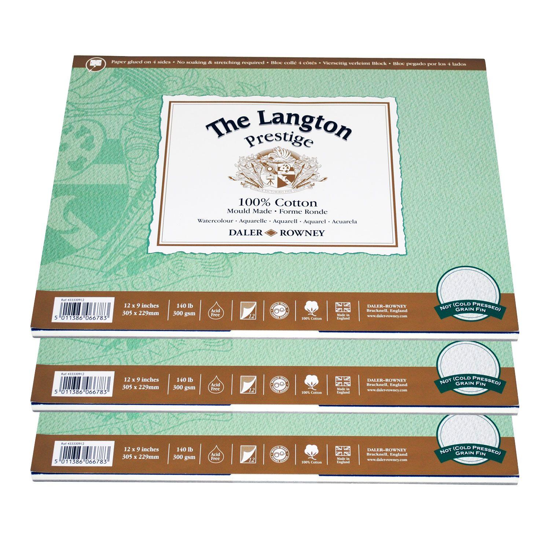Langton Prestige Watercolour Not Surface Block 12x9 Watercolor