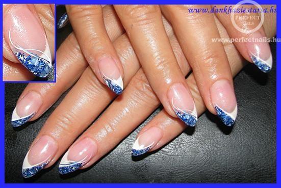 88e5eab502 kék-fehér - Műköröm képek, Köröm minták, Műköröm minták   esküvő in ...