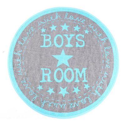19,90EUR Teppich Rund Boys Room Mit Sternen Grau Blau