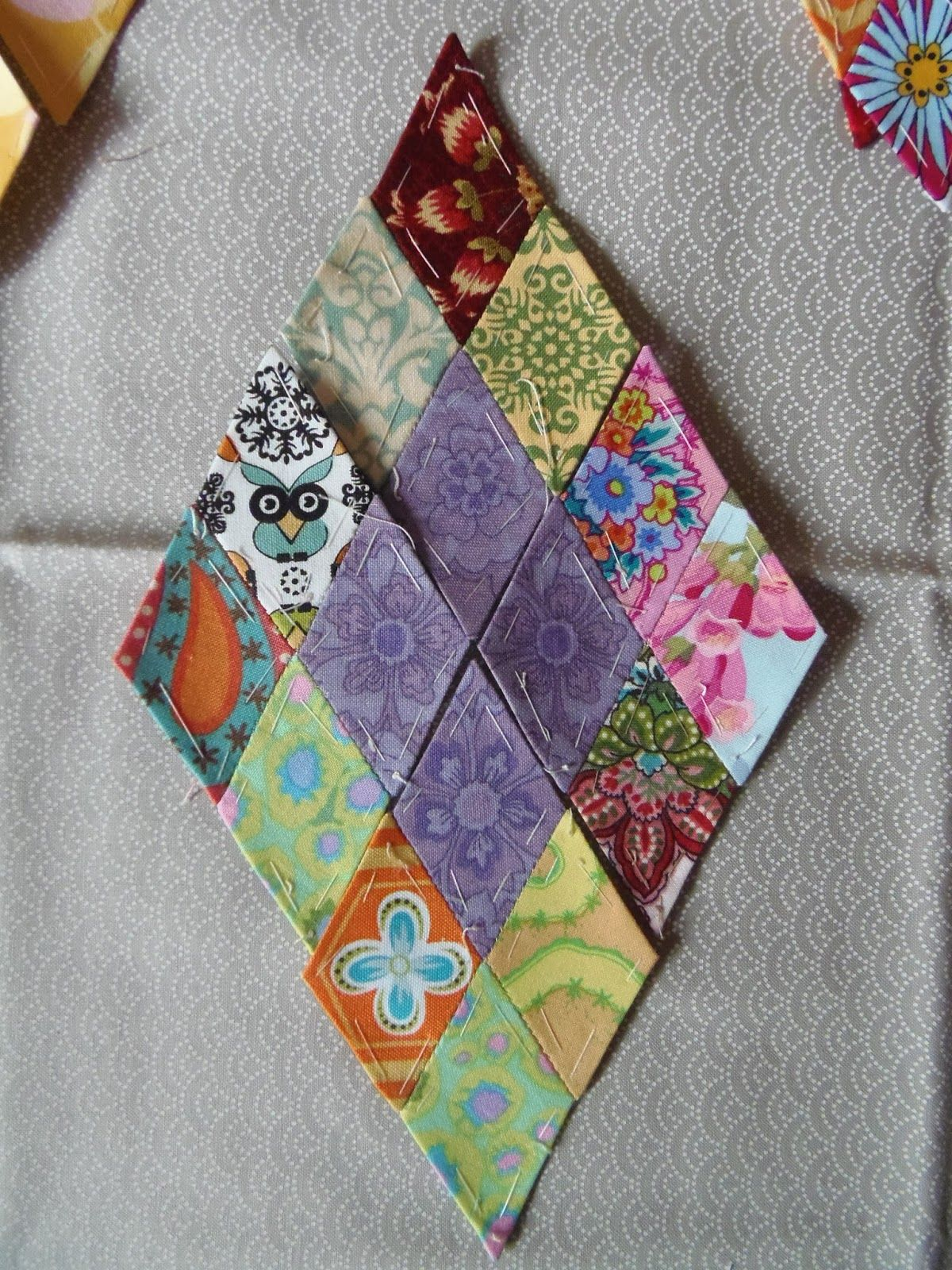 "Faeries and Fibres: English paper pieced diamonds for ""81"", Flare Fabrics and Mom's Africa quilt"
