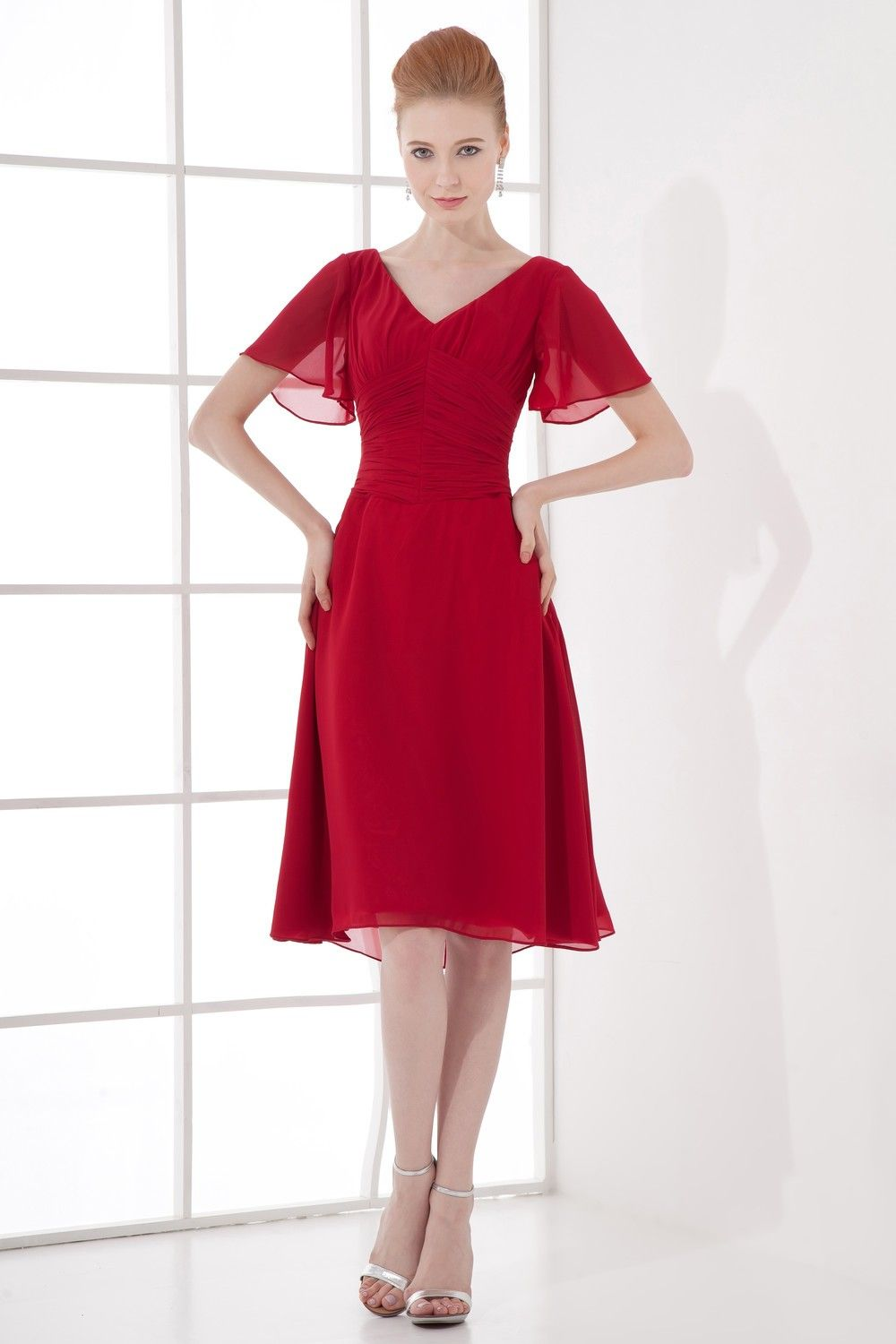 Chiffon vneck short mother of bride dress with capped sleeves