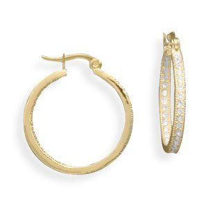 14k Gold Hollow Polished Hoop Earring Jackets 1.14 Height
