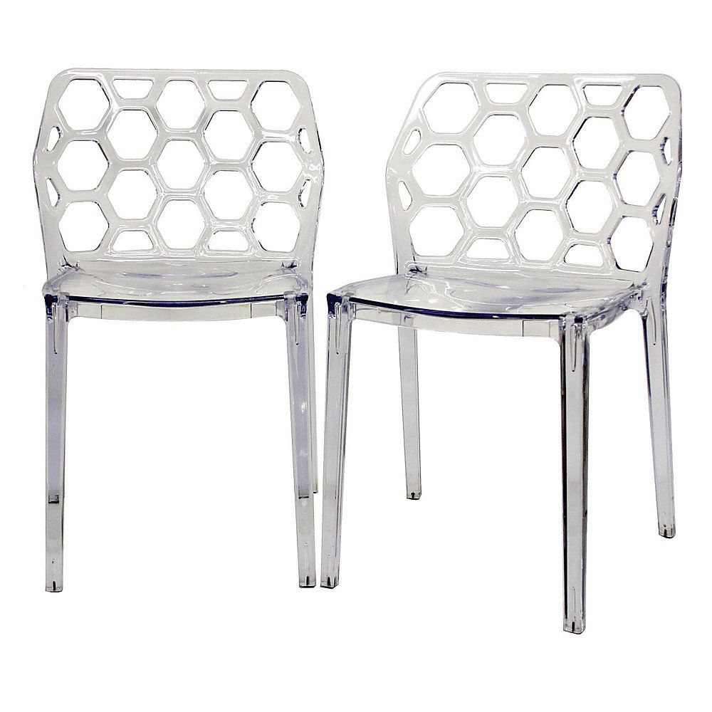 Baxton studio honeycomb stackable chairs set of 2 by office depot