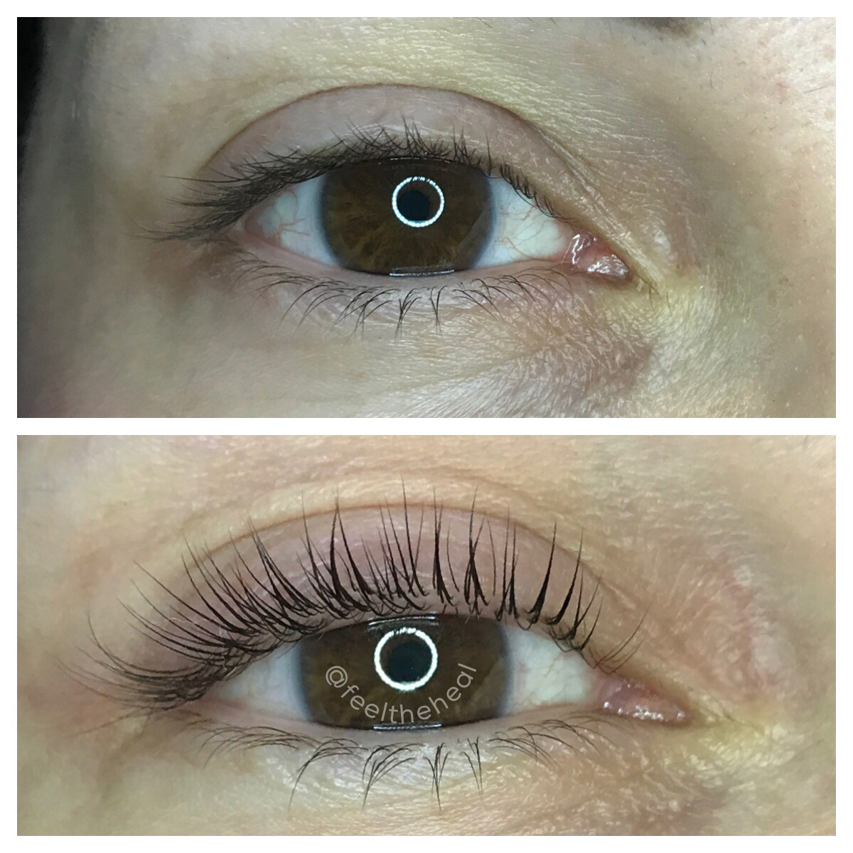 Lash lift before and after . 🚫no mascara🚫 in this photo by