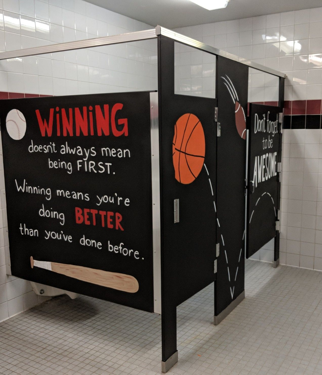 Inspiration Stalls Boys School Bathroom Stall Art Makeover And Positive Messages Don T Forget To Be Awesome Wi School Bathroom School Climate Bathroom Mural