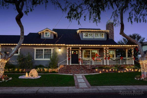 christmas lighting ideas houses. Candy Cane Front Porch Columns And Lights For Christmas Lighting Ideas Houses