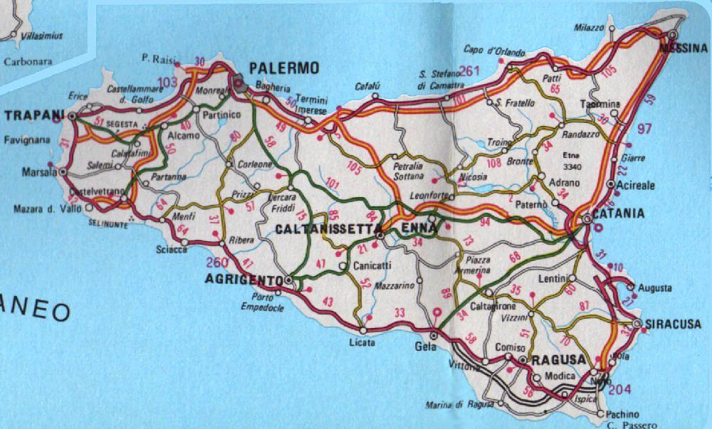 Cartina Dettagliata Sicilia Orientale.Palermo Cartina Sicilia