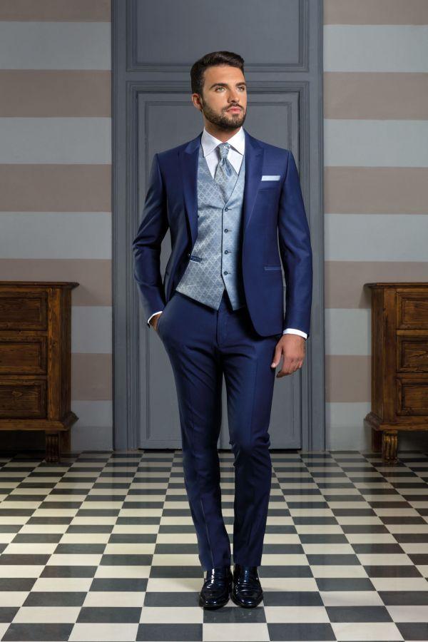 Vestito da cerimonia blu chiaro con gilet fantasia Smoking Nozze b3f398d0c57