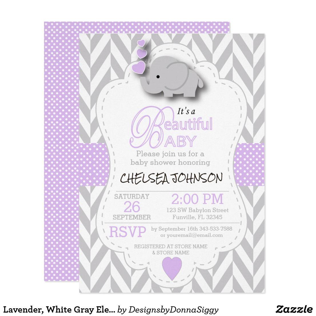 Lavender, White Gray Elephant Baby Shower Card | Baby girl elephant ...