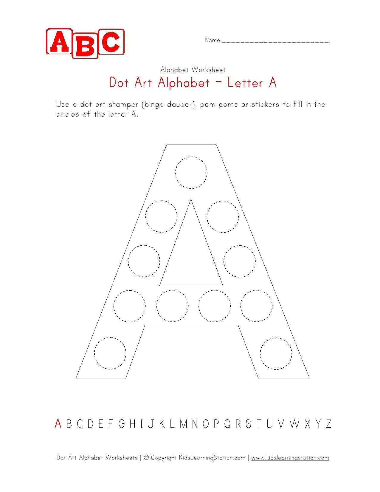Letter A Dot Art Worksheet