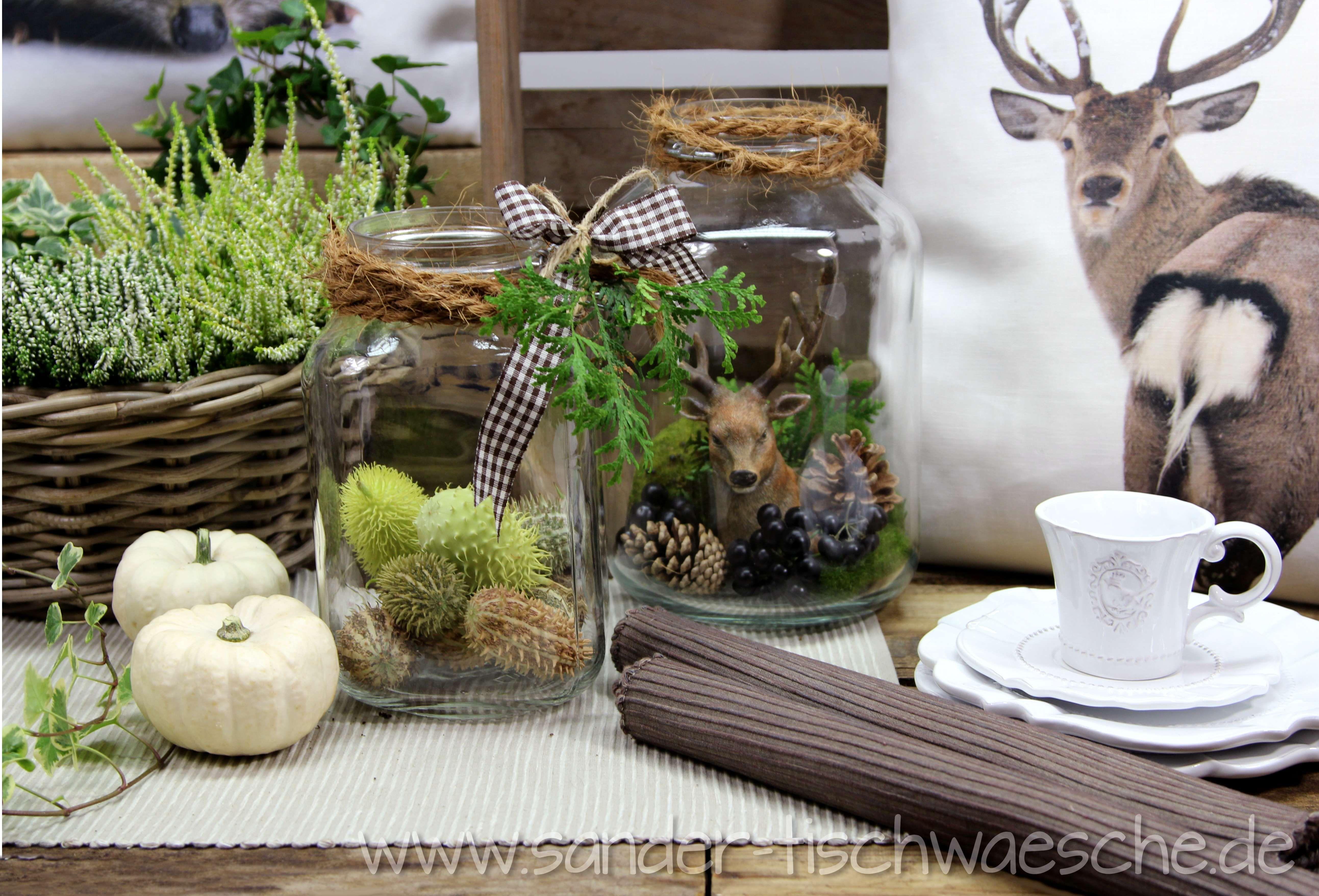 herbst im glas weckgl ser herbstlich dekoriert kissen und tischsets zu bestellen bei sander. Black Bedroom Furniture Sets. Home Design Ideas