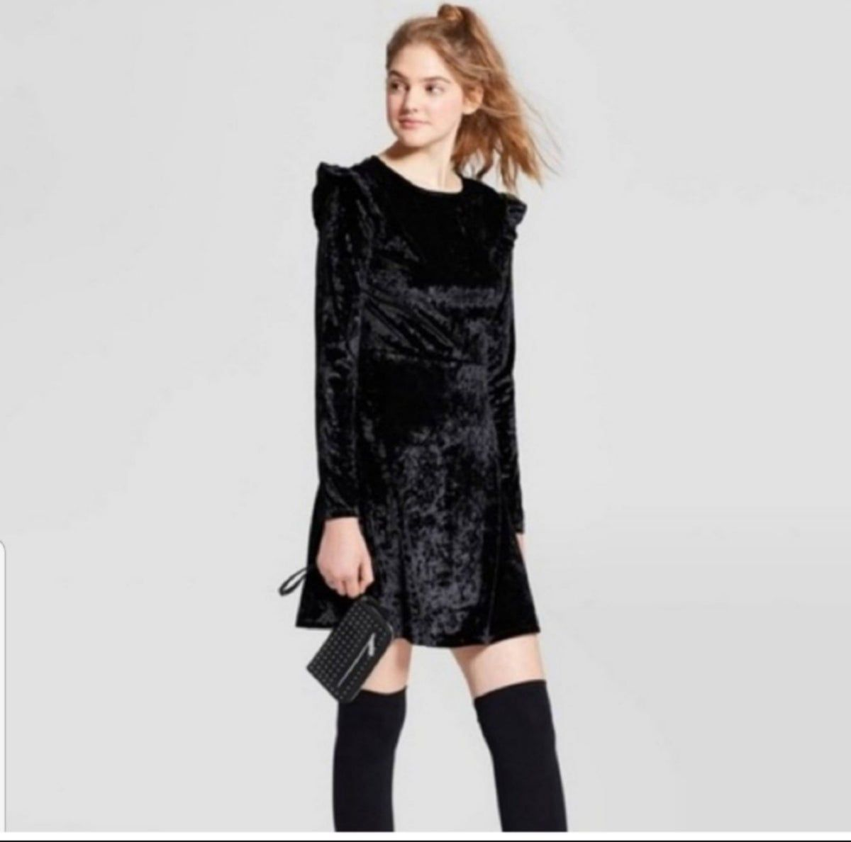 mossimo Women/'s Velvet Long Sleeve Ruffle Shoulder Fit /& Flare Dress XS-XXL
