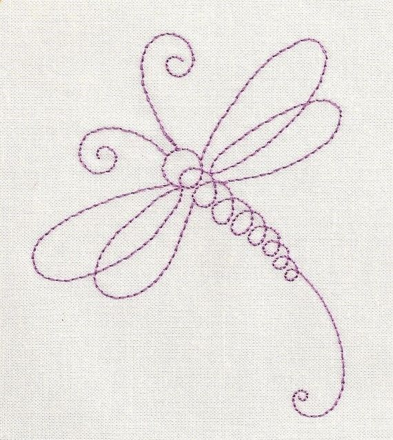 Dragonfly Line Machine Embroidery Design You can do this one free motion if you practice