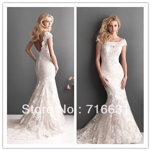 Elegant Scoop Neckline Short Sleeve Open Back Floor Length Strapless Appliqued Lace Mermaid Wedding Bridal Dress