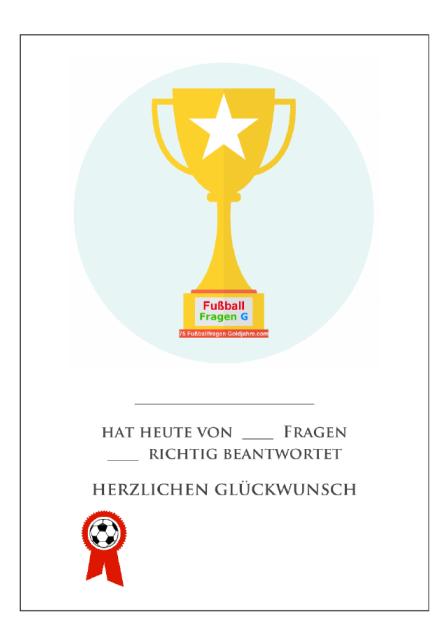 Fussball Urkunde Zum Ausdrucken Und Beschriften Fussball