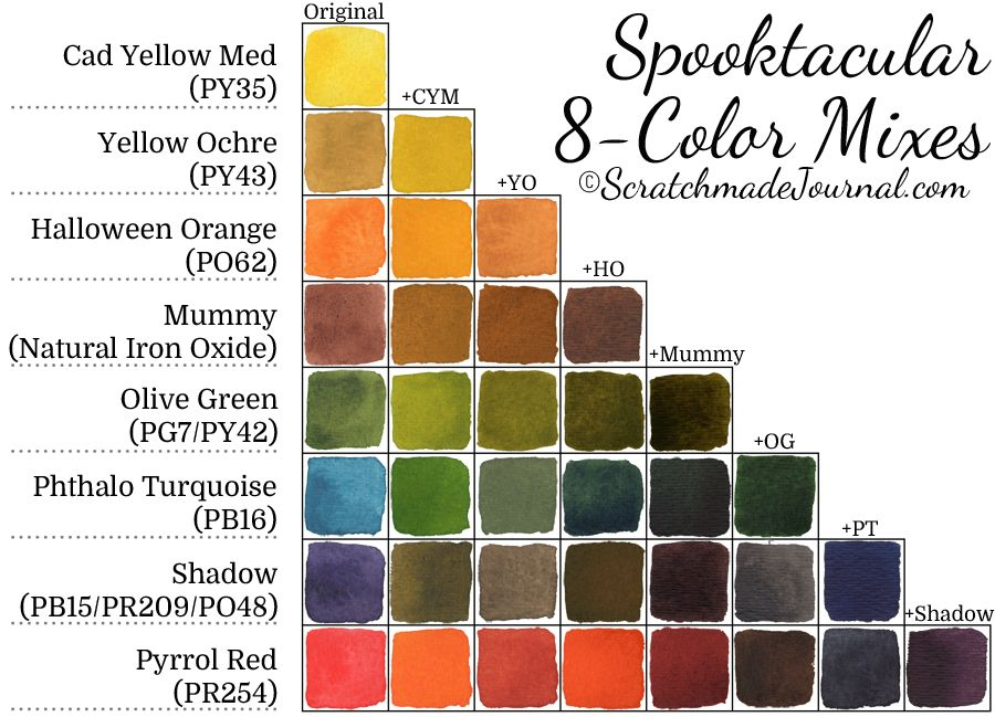 Spooktacular 8 Color Fall Palette Watercolor Mixing Color