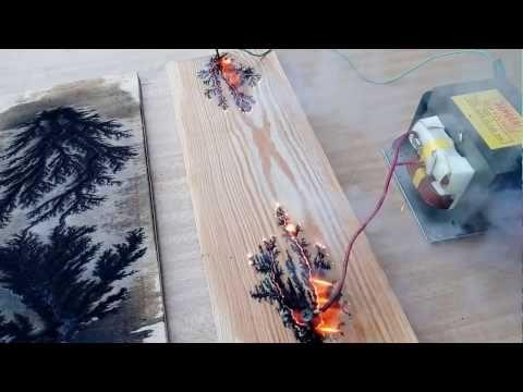 УЗОРЫ на дереве,  Lichtenberg paintings on wood,