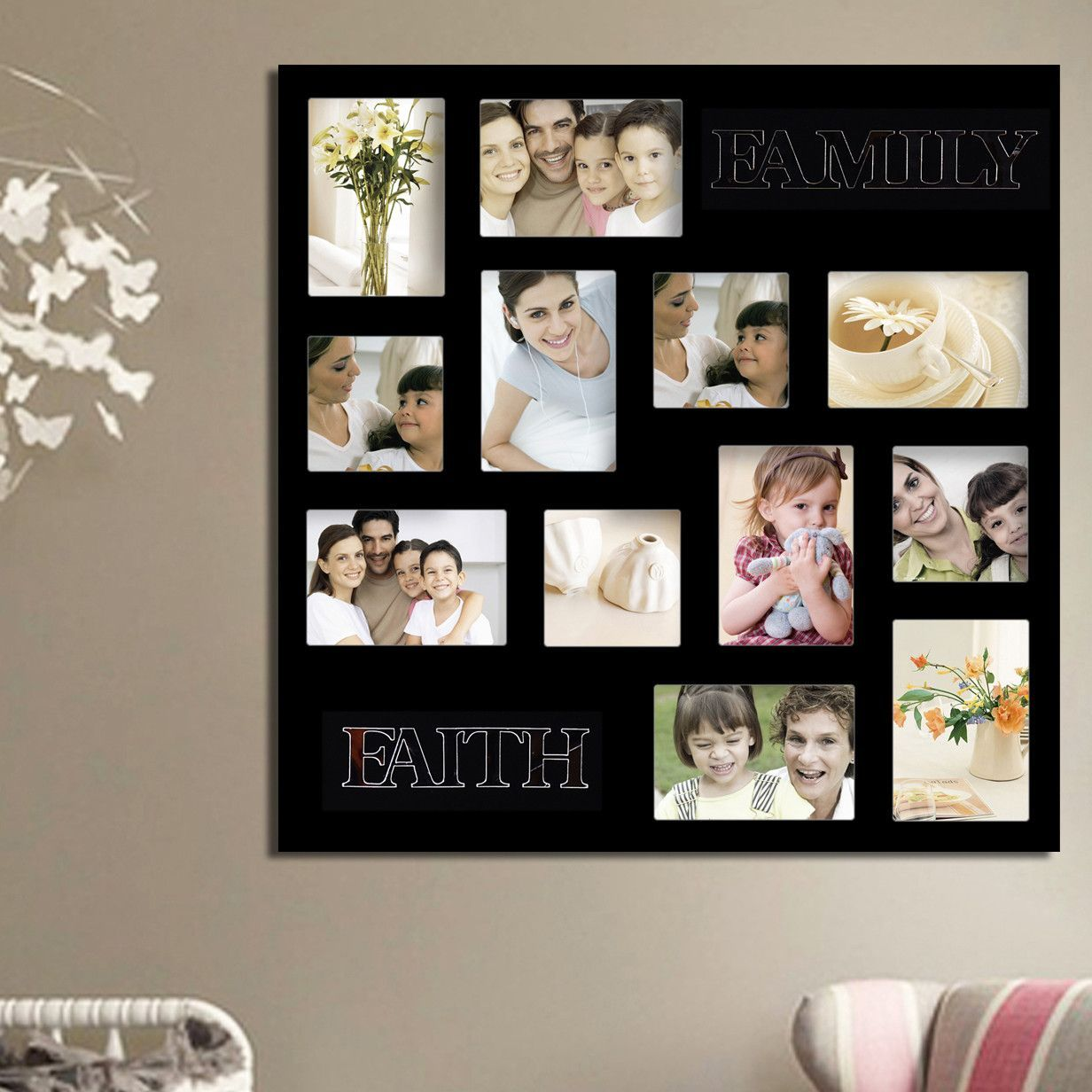 Adecotrading 12 Opening Decorative Faith And Family Wall Hanging Collage Picture Frame Family Wall Picture Arrangements Picture Collage