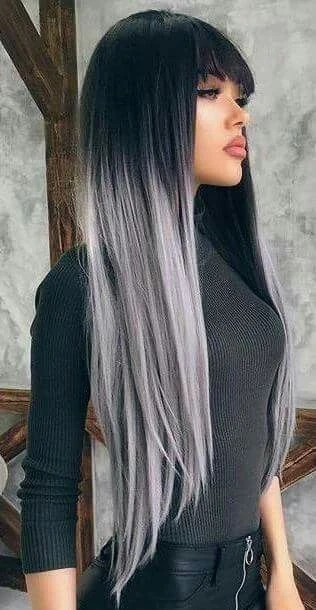 Lace Frontal Gray Wig Black Girl Brazilian Hair Half Black Half White Shebelt Mall In 2020 Long Hair Styles Hair Styles Grey Ombre Hair