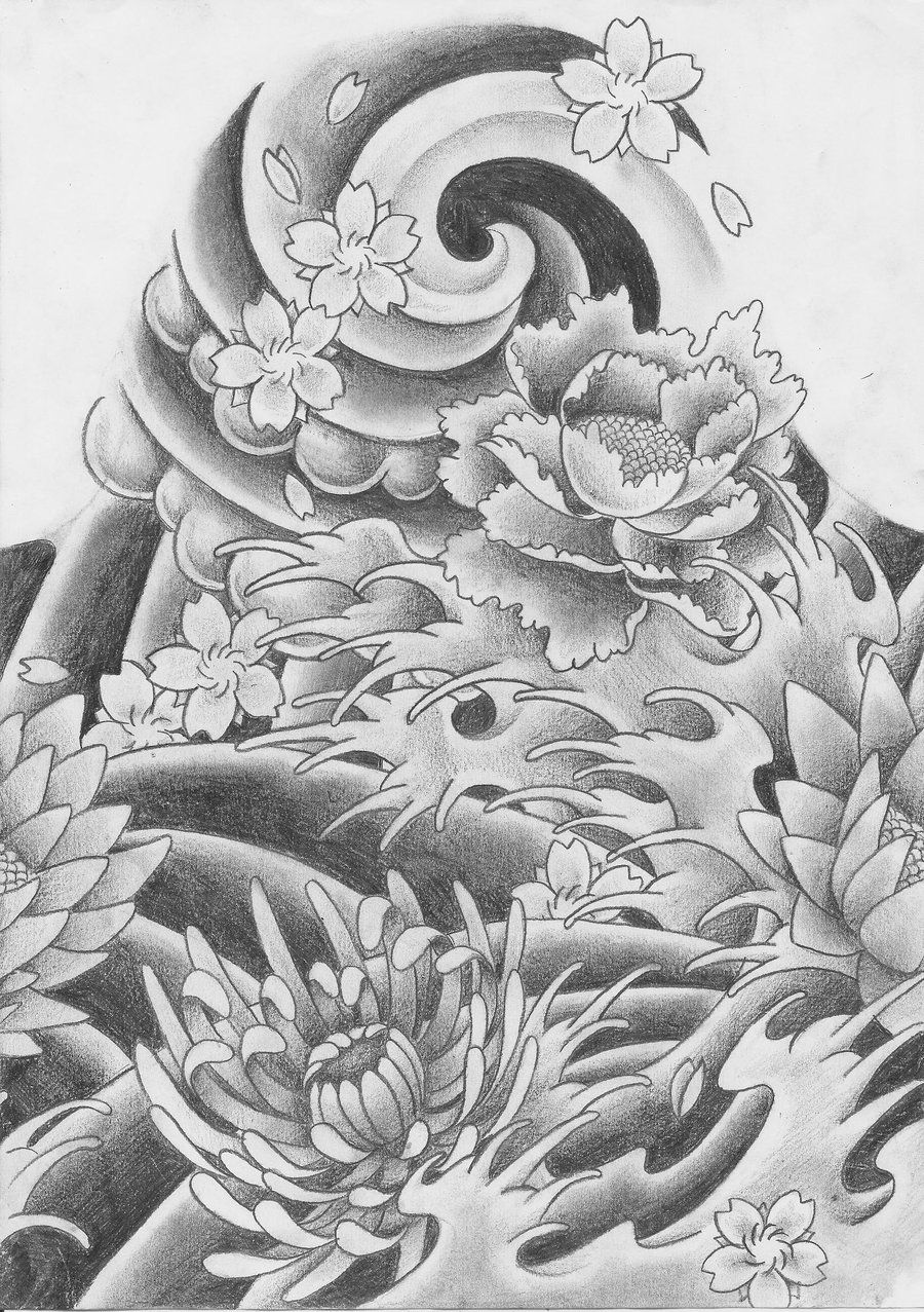 A Japanese Arm Tattoo Design, With Some Flowers, Waves, And A Whirlwind  Placed On The Shoulder
