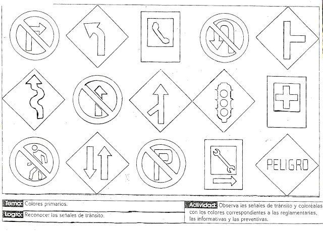 señales de transito para niños de preescolar para colorear ...