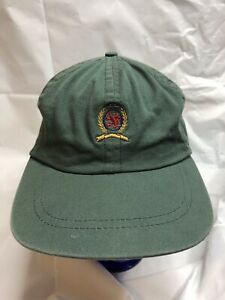 cac279f2ca8 Tommy Hilfiger Hat Vintage 90s Crest Leather Strapback Green USA Made Cap  Dad