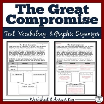 The Great Compromise Worksheet And Graphic Organizer Printable Digital Informational Text Graphic Organizers Greatful Ratifying the constitution worksheet answers