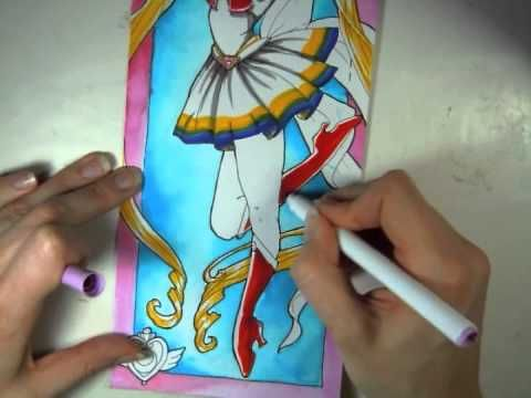 How to color Sailor Moon in cheap Crayola Markers, colored pencils, & watercolor - YouTube