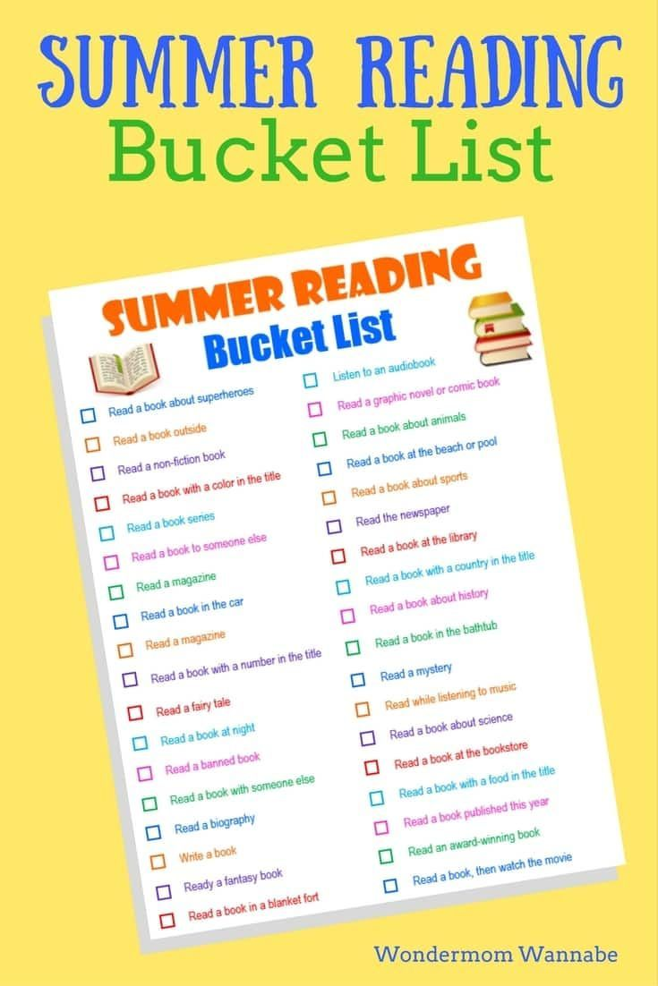 Free Printable Summer Reading Bucket List | summer activities ...