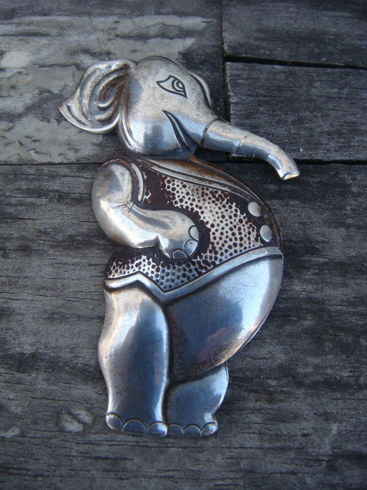 "ANTIQUE TRUART STERLING SILVER .925 PIN/BROOCH ""ELEPHANT"" RARE PIECE"