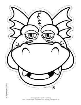 Grinning Dragon Mask to Color Printable Mask