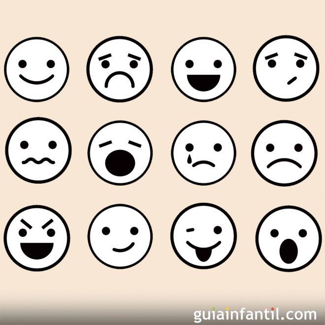 de caras de emociones para colorear con los niños