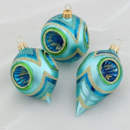 christmas ornaments peacock Peacock Glass Hand Decorated Reflector - peacock christmas decorations