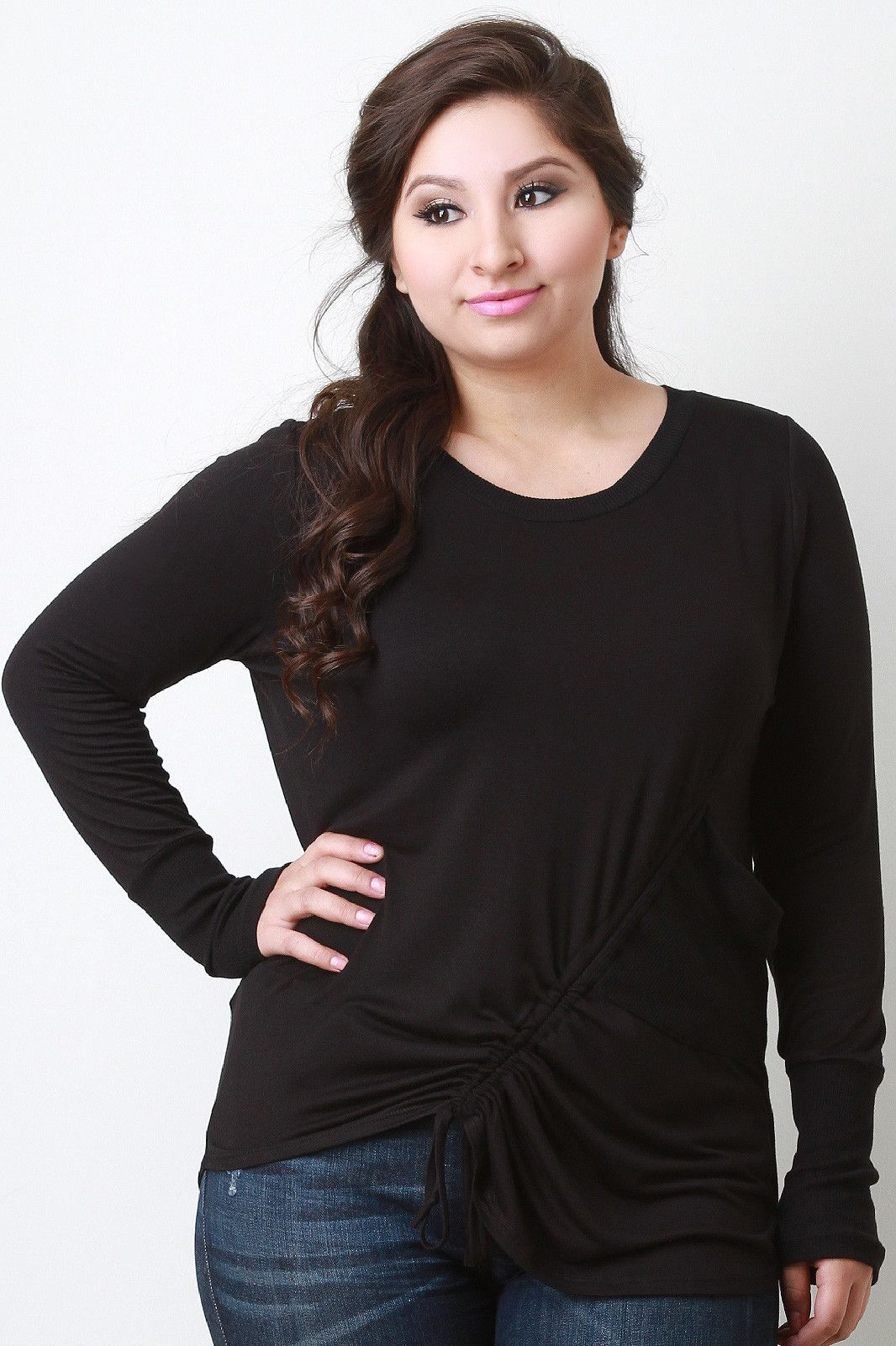 Slanted scrunch long sleeve top tops pinterest products