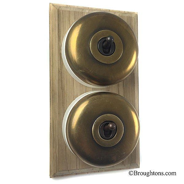Round Light Switch: Round Dolly Light Switch on Wooden Base Antique Satin Brass 2 Gang,Lighting