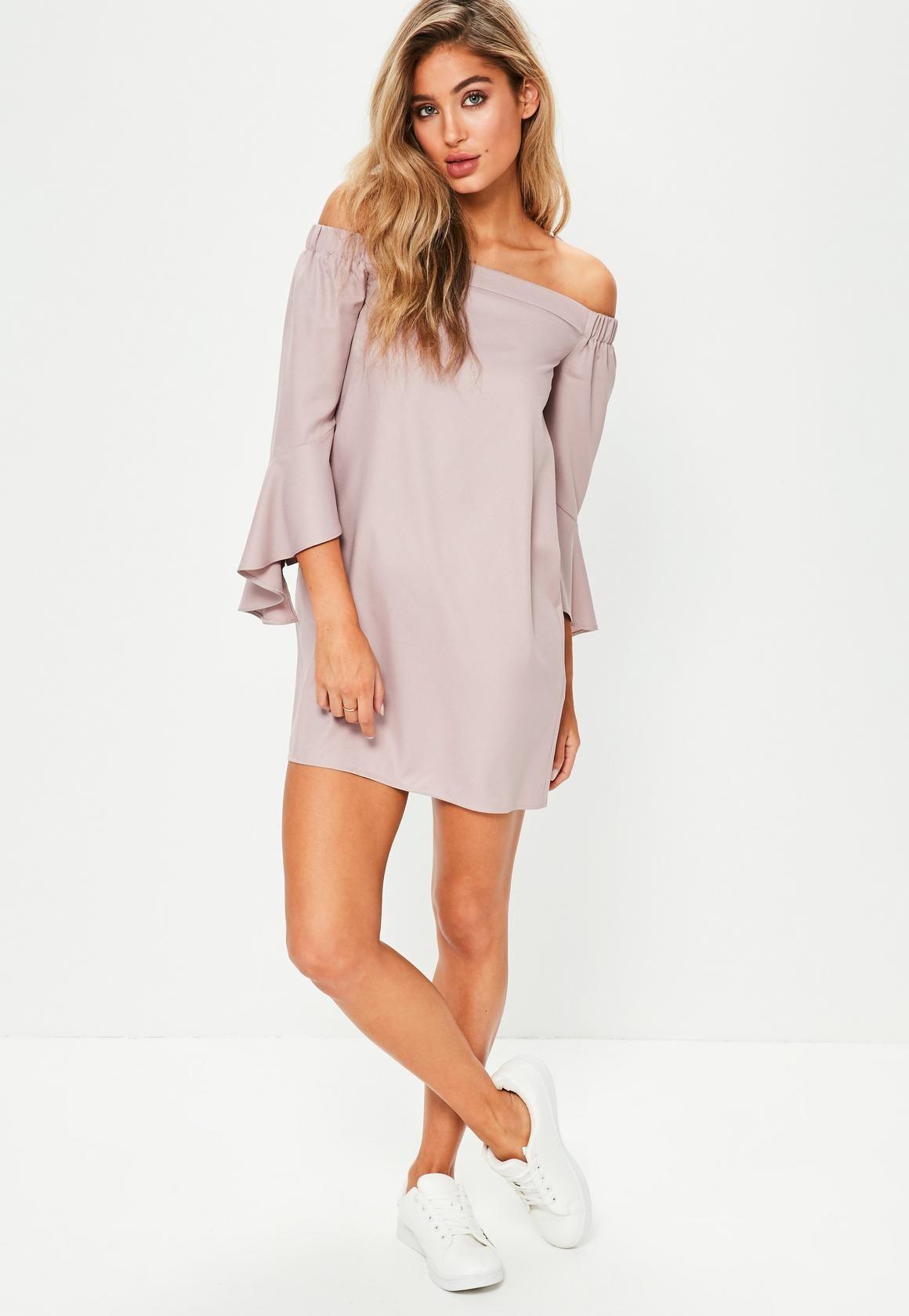 Missguided pink bardot ruffle sleeve shift dress fashion