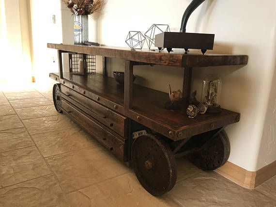 Vintage Industrial TV Console with Salvaged Bowling Alley Wood and ...