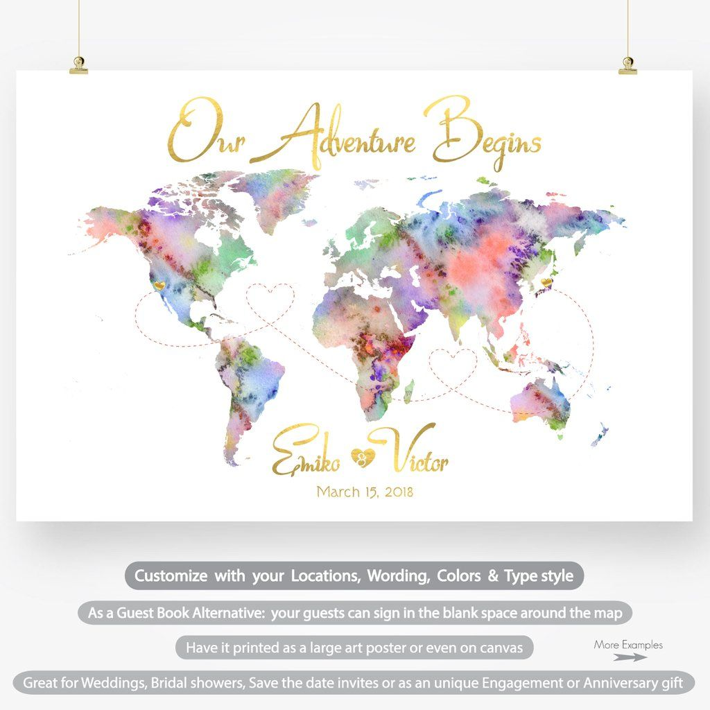 Travel Theme Wedding Guest Book Alternative Large Watercolor World