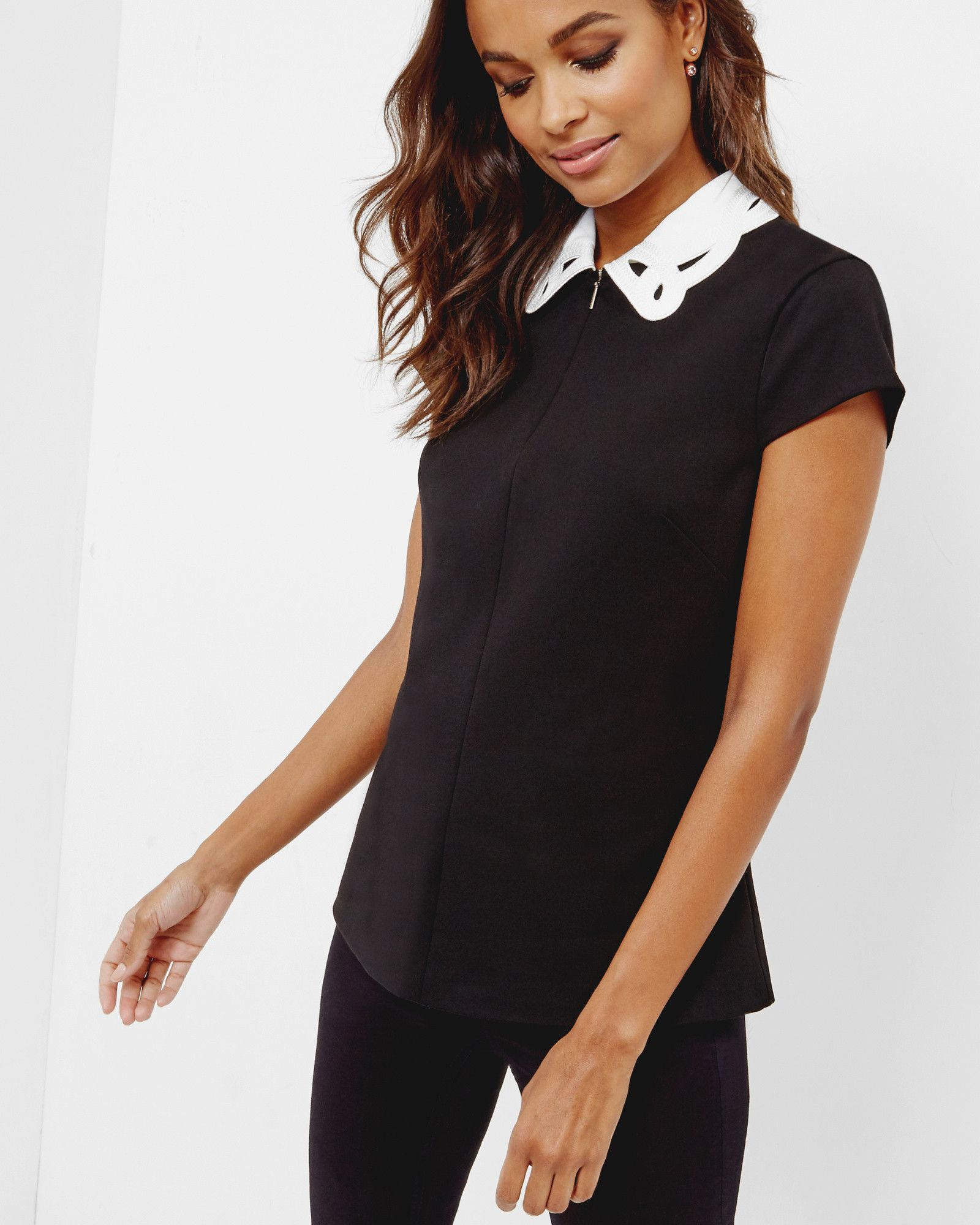 f1006eed34936b Embroidered collar front-zip top - Black