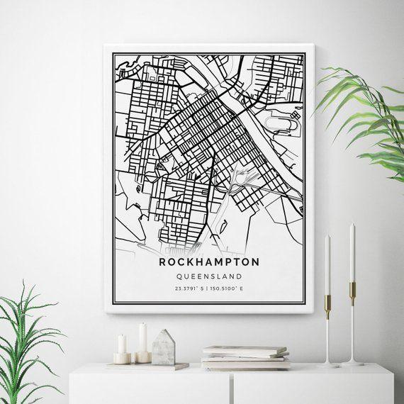 Rockhampton Map Canvas Print, City Maps Wall Art, Queensland ... on lae city map, surat city map, melbourne city map, gladstone city map, sydney city map, warwick city map, st george city map, darwin city map, port moresby city map, adelaide city map, perth city map, newcastle city map, canberra city map, cairns city map,
