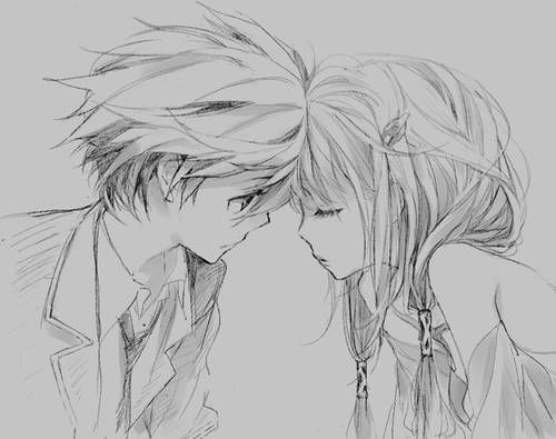 Anime Cute Couples Pencil Sketch Images