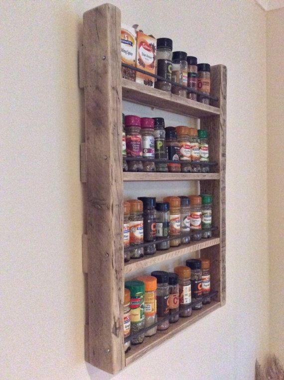 Wood Spice Rack For Wall Simple Spice Rack  Storage For Spices  Rustic Wood  Kitchen Storage 2018