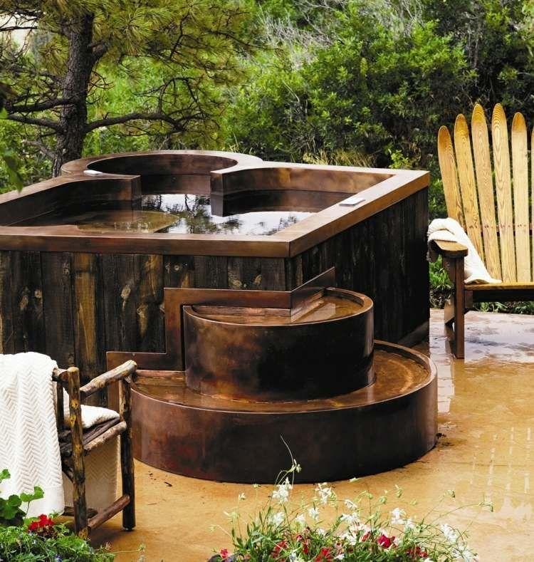 Whirlpool im Garten bauen und in Holz verkleiden Ideen