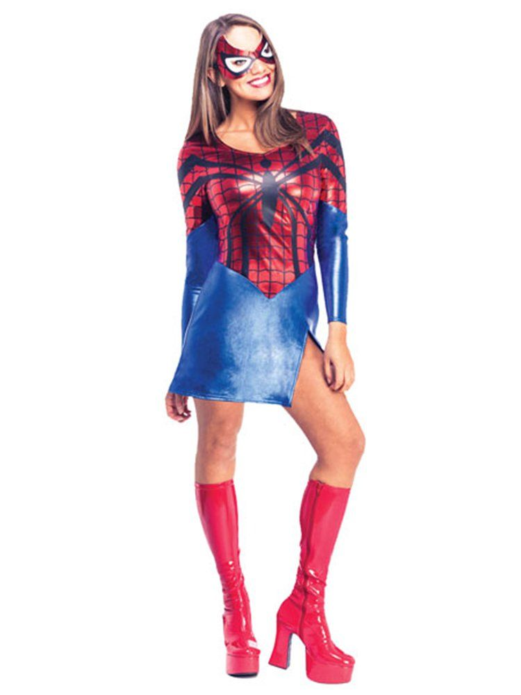 LADIES WOMENS SPIDER GIRL COSTUME MARVEL ADULT SPIDERMAN FANCY DRESS OUTFIT