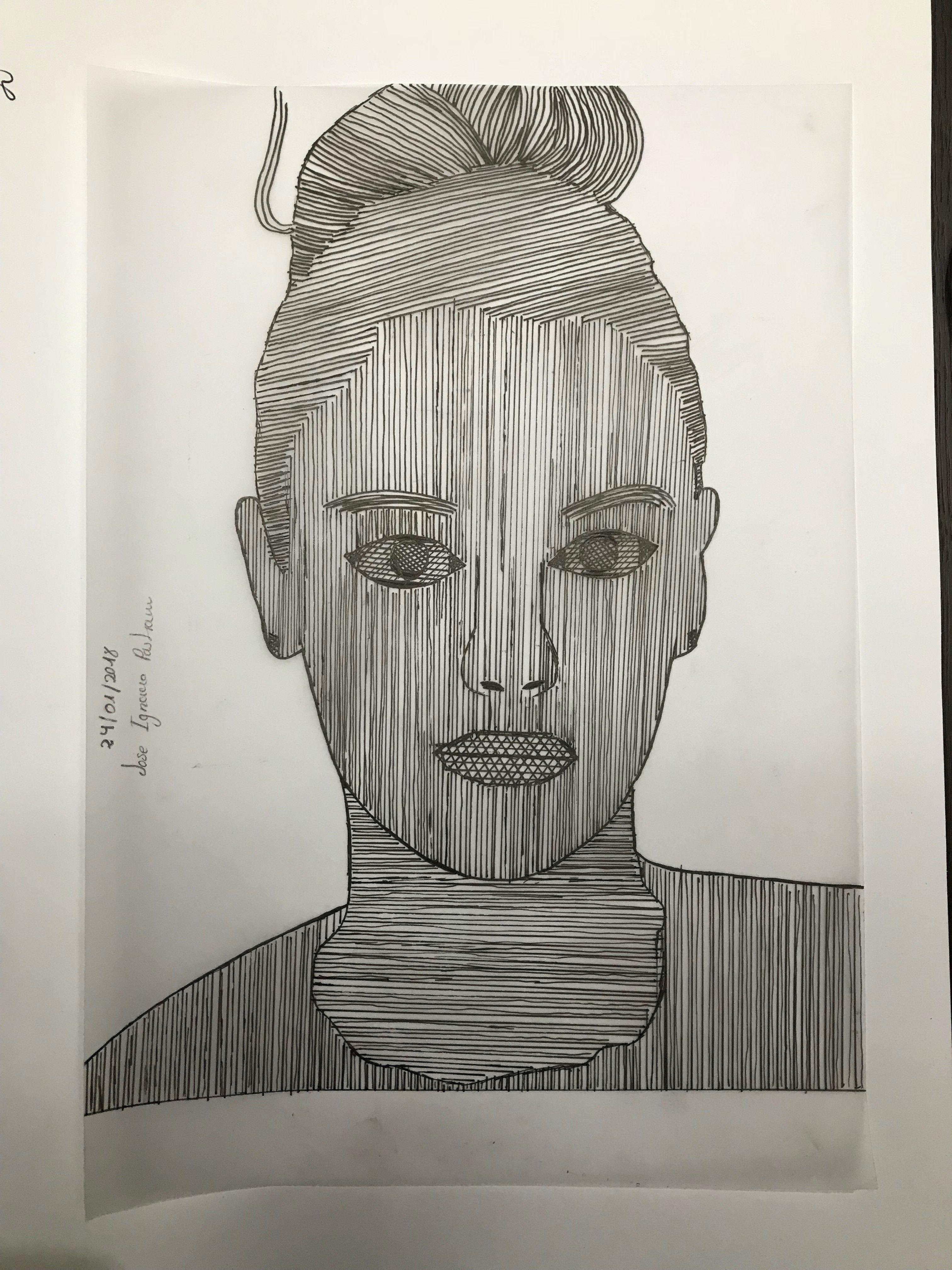 Ejercicio 2. Trama lineal mediante instrumental de dibujo. Dibujo 2 ...