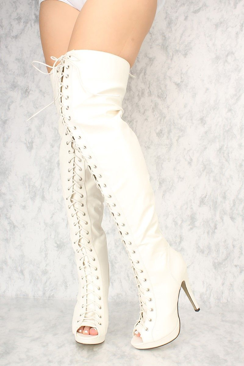 Details about  /Women High Stiletto Heel Over Knee Thigh Boots Patent Leather Shoes Clubwear Hot